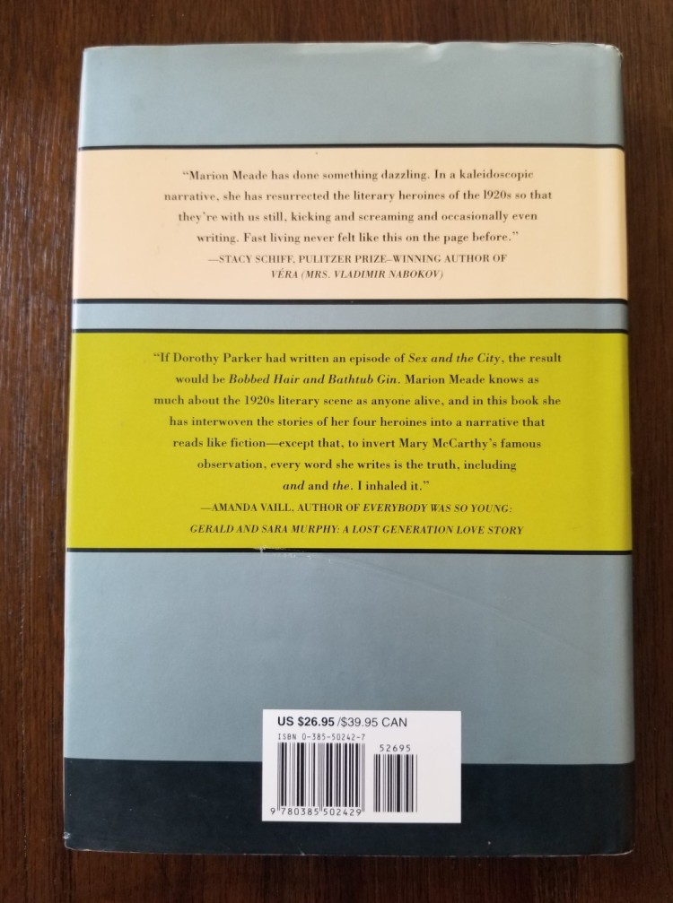 Back cover of Marion Meade's Bobbed Hair and Bathtub Gin