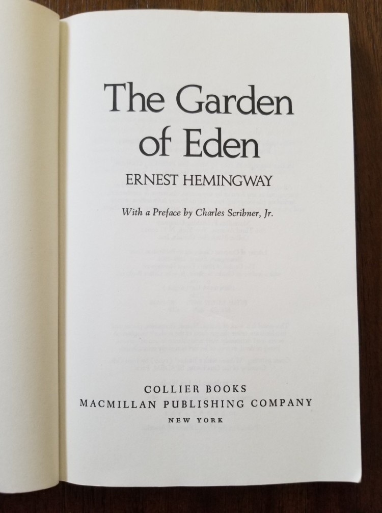 Title page of The Garden of Eden by Ernest Hemingway