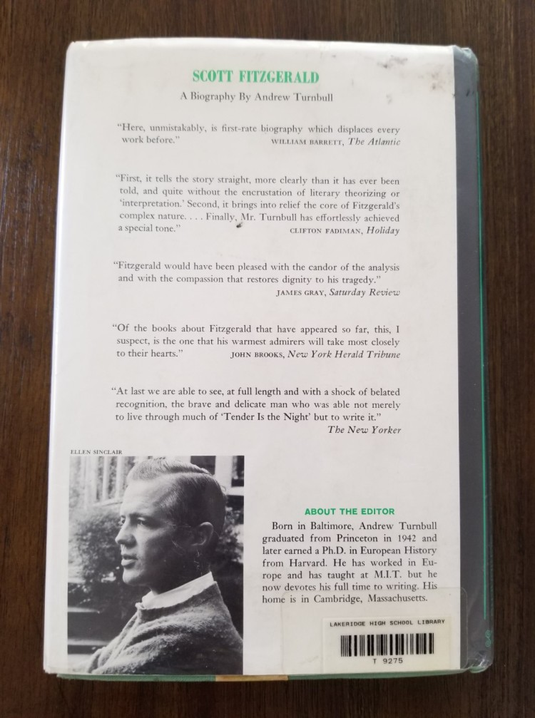 Back cover of The Letters of F. Scott Fitzgerald (1963)
