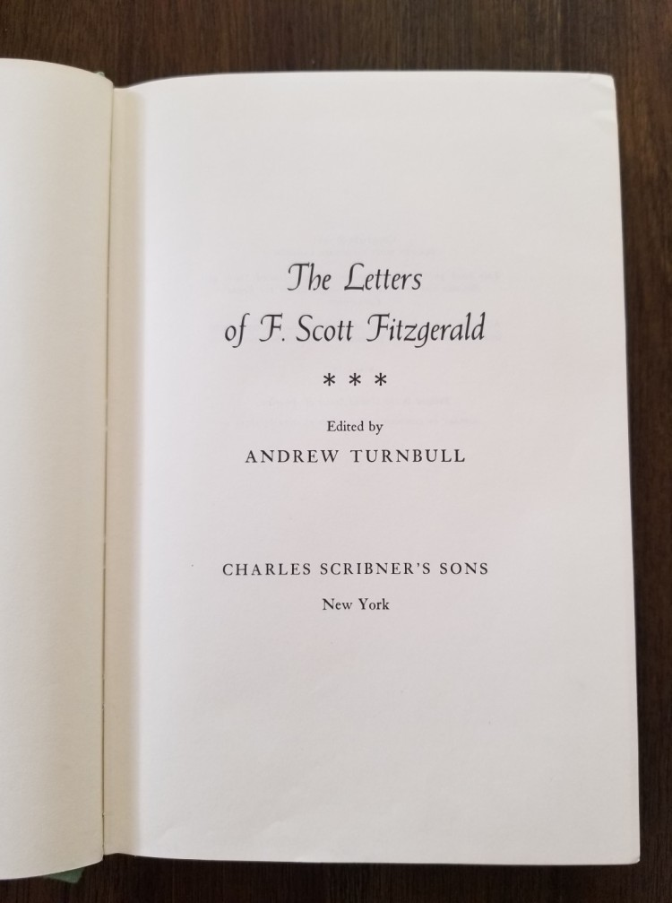 Title page of The Letters of F. Scott Fitzgerald (1963)