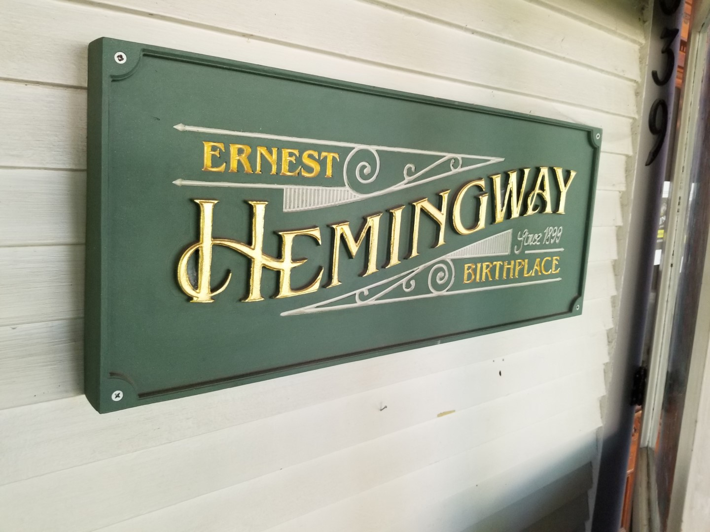 Ernest Hemingway Birthplace sign near front door