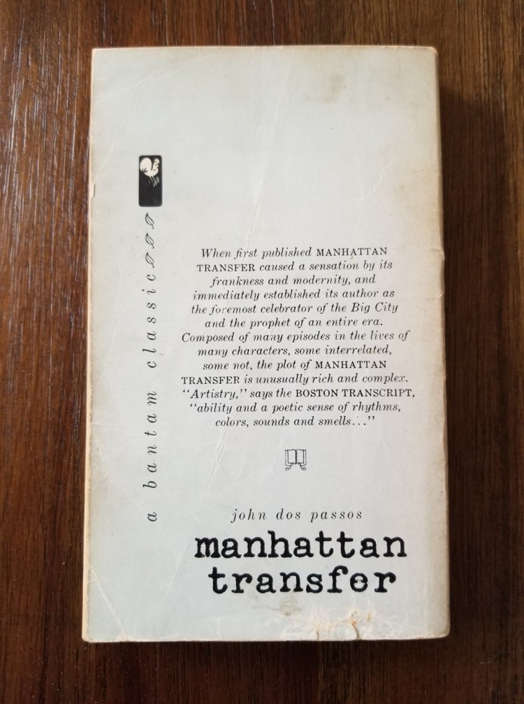 Back Cover of John Dos Passos's Manhattan Transfer