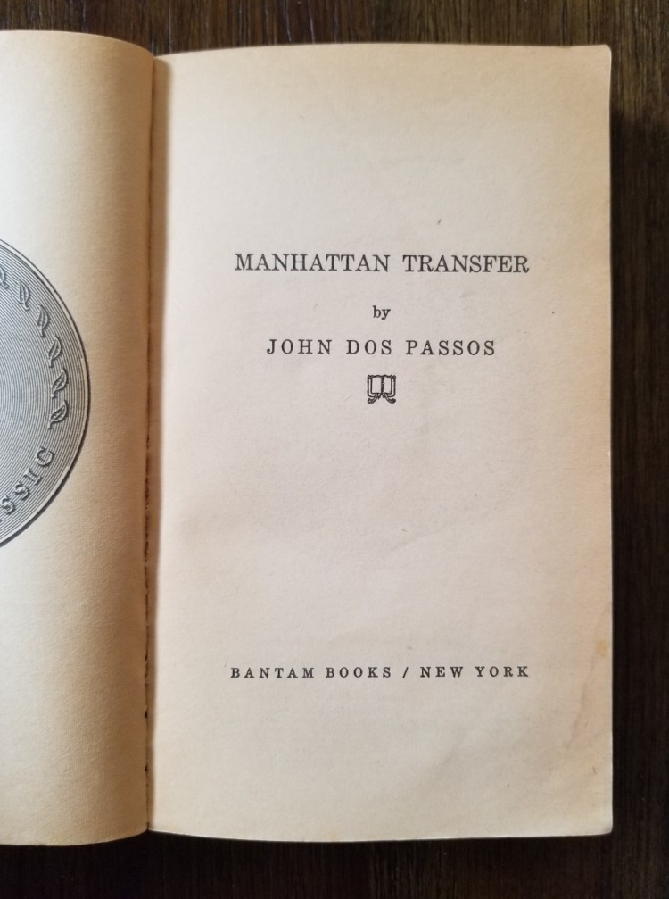 Title page of John Dos Passos's Manhattan Transfer