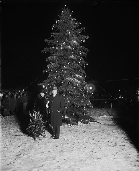 Pres. Hoover lights in 1929 national Christmas tree