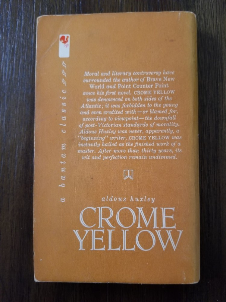 Back cover of Aldous Huxley's novel Crome Yellow